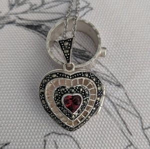 Jewelry - Heart shaped locket with red stone